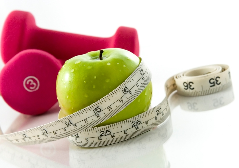 weights, apple and tape measure